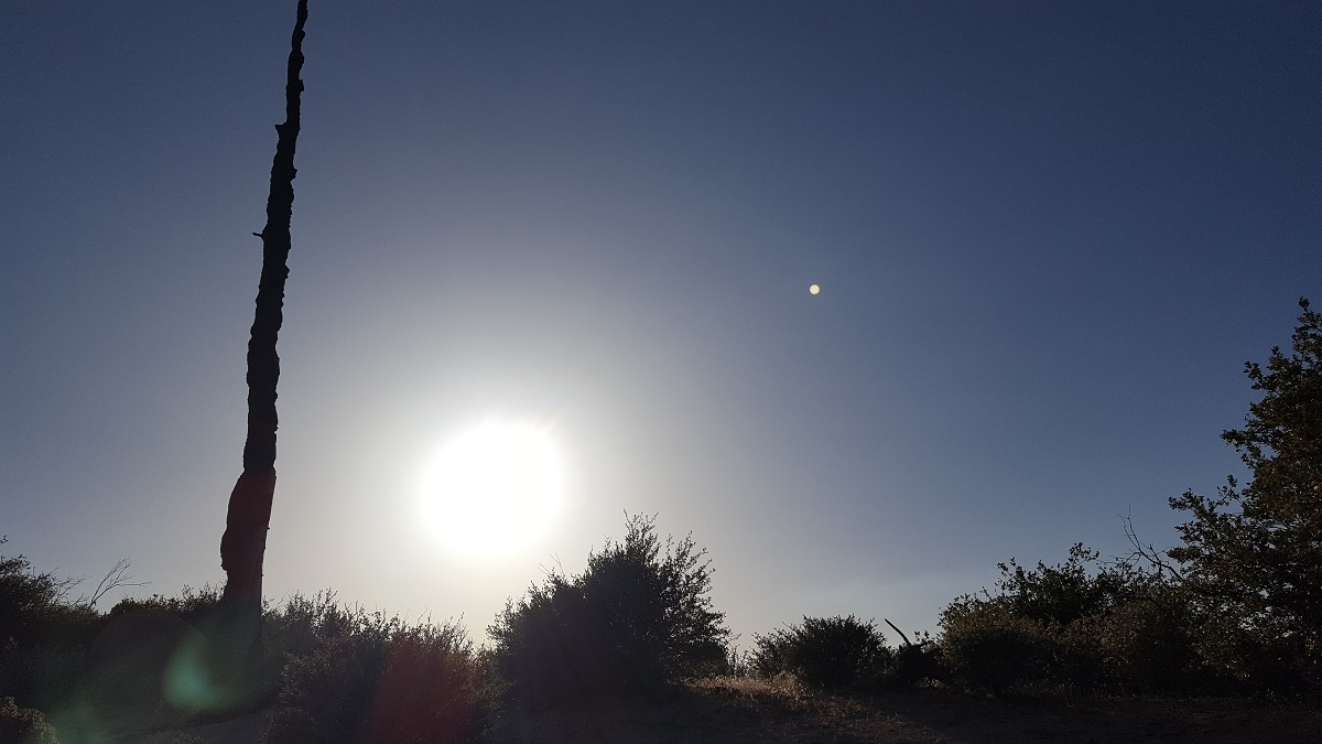 Soleil couchant et lever de lune
