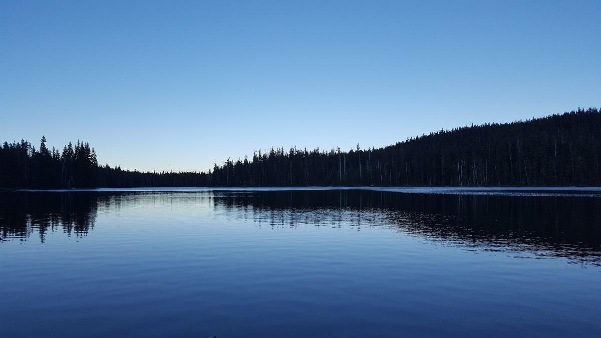Eaux sombres d'un lac au crépuscule - Dark lake waters at dusk