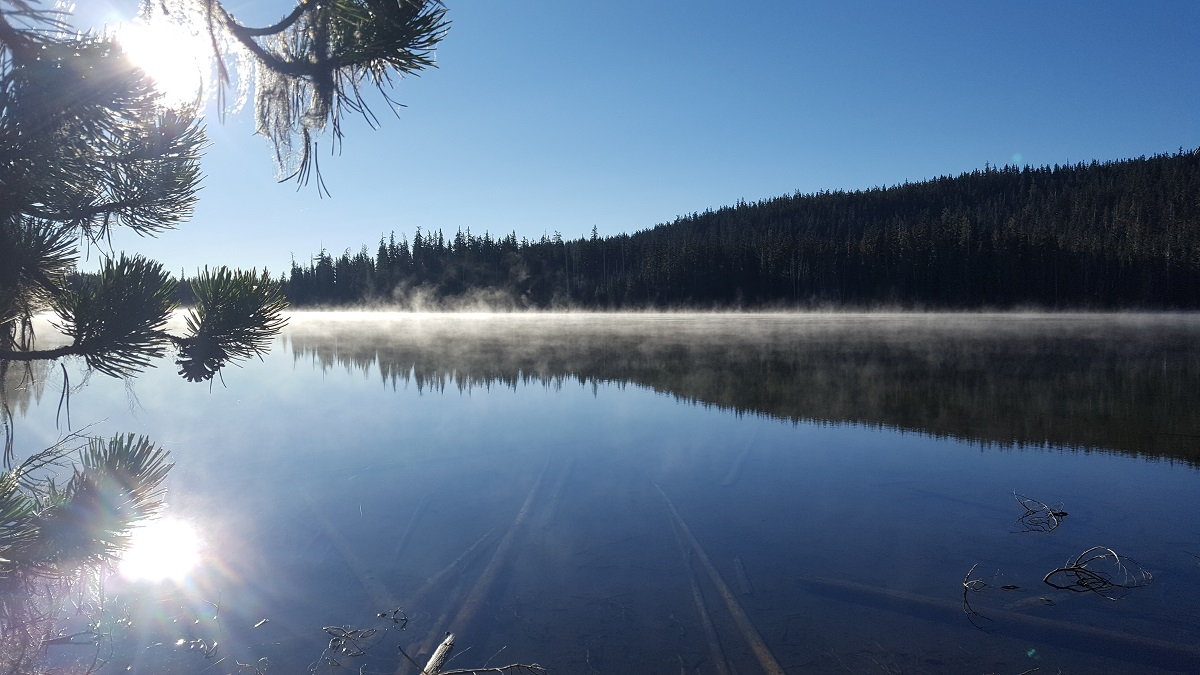 Vapeur au dessus d'un lac au lever du soleil - Steam over the lake at sunrise