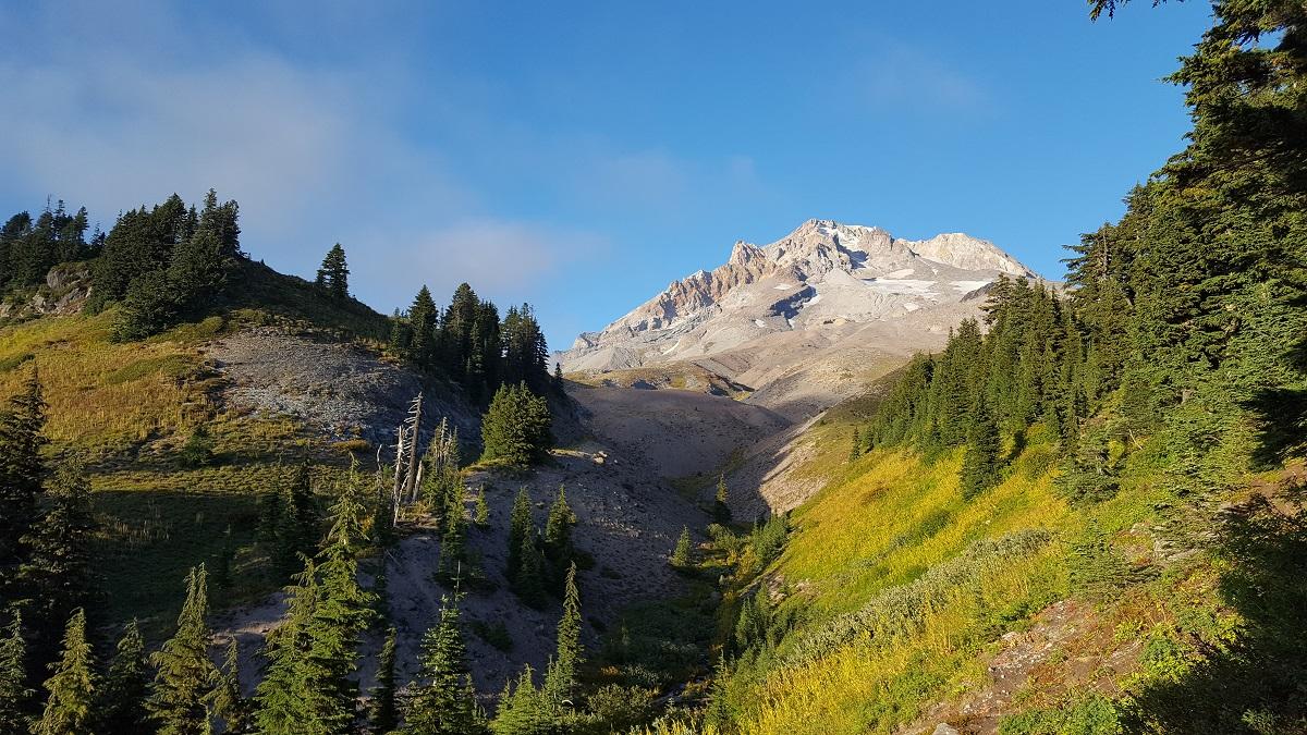 Vue de Mount Hood en contre-plongée - Mount hood shot from below